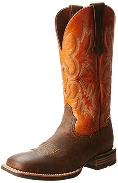 Ariat Men's Tombstone Boot #shoes http://www.theshoespack.com/ariat-mens-tombstone-boot/  Ariat Men's Tombstone Boot Leave ho-hum looks in the dust and opt for the head-turning Tombstone boot from Ariat. Bold stitching lends traditional Western flair to a mod patent-trimmed shaft, while a squared toe and classic block heel help kick up some stylish fun.