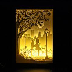 Silhouette Love Moon paper cut Light box Night light by trysogodar