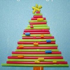 Straw Christmas Tree Craft