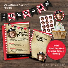 Pirate Party Invitation Kit, Pirate Invite Pack, Pirate Party Invitation, Pirate Party Ideas for 1 - 6 year olds, Printable, Photo by FoxyLoxyDesign on Etsy Pirate Party Invitations, Invitation Kits, Printable Invitations, Invite, Printables, Pirate Boats, Thank You Notes, Pirates, Party Ideas