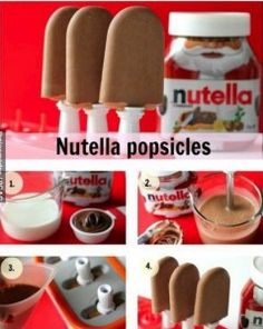 Nutella popsicles-2 ingredients 1 cup full cream milk and  1/3 cup Nutella  Place the milk and Nutella in a blender and blend until thoroughly combined.  Pour into a Popsicle molds.  Freeze and serve.  Wonder if it would taste as good with coconut milk instead??