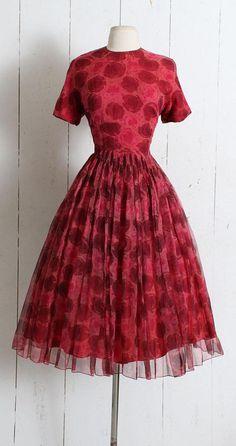 Vintage 1950s Dress vintage 50s silk rose print dress Saks