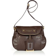 MARC BY MARC JACOBS Deepest Brown Natasha Satchel Bag ❤ liked on Polyvore