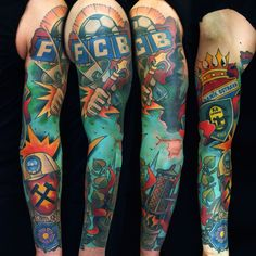 Sleeve tattoo by Fishero - Freihand tattoo (with cover up in upper part)