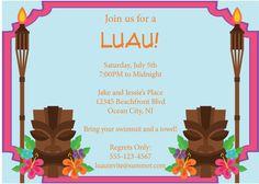 Luau Invitation Tiki Torches Summer Pool Party Luau Invite DIY Printable