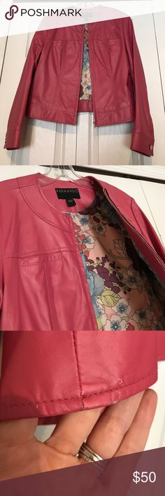 Pink Leather Moto Jacket Bernardo L Hot pink moto style genuine leather jacket by Bernardo, with floral liner. Thinner leather makes this great for inside or outside, rarely seen color, with a few scratches but not to the naked eye - pic included- kept in climate controlled closet. Bernardo Jackets & Coats Utility Jackets