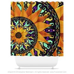 Sunflower Talavera - Orange Purple and Green Floral Artist Shower Curtain