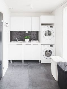modern laundry room design, modern laundry room organization, laundry room cabinets with sink and open shelves and tile floor, laundry in mudroom design Laundry Room Tile, Modern Laundry Rooms, Laundry Room Cabinets, Room Tiles, Laundry Room Organization, White Laundry Rooms, Room Interior, Interior Design Living Room, Laundry Room Inspiration
