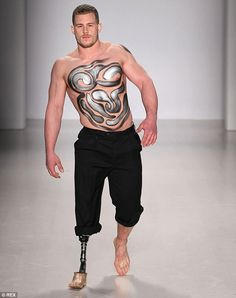 British personal trainer Jack Eyers became the first male amputee model to strut his stuff on the catwalk in the show; he had his leg amputated aged 16