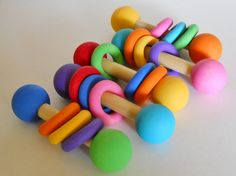 Wooden Baby Rattle Teething Toy Bright Colors by These Are Handmade Cute Gifts, Baby Gifts, Wooden Baby Rattle, Waldorf Toys, Teething Toys, All Things Cute, Wood Toys, Toy Store, Baby Love