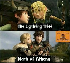 Hiccup and Astrid are so much like Percy and Annabeth. Such a coincidence that Percy Jackson is my favorite book series and How to Train Your Dragon is my favorite movie. Percy Jackson Fan Art, Percy Jackson Fandom, Percy Jackson Memes, Percy Jackson Books, Percabeth, Solangelo, Astrid Hiccup, Percy And Annabeth, Annabeth Chase