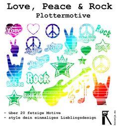 Plottervorlage Love, Peace & Rock Plotterdatei von kaianjas Lädchen auf DaWanda.com