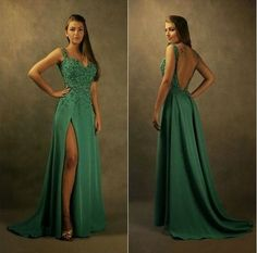 Green Backless Prom Dress,Beaded A Line Prom Dress,Custom Made Evening Dress