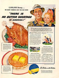 """1941 No Shortage of Butter in America Original Print Ad -An original vintage 1941 advertisement, not a reproduction -Measures approximately 10"""" x 13"""" to 11"""" x 14"""" -Ready for matting and framing."""
