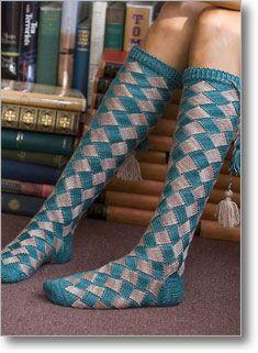 Entrelac sock pattern