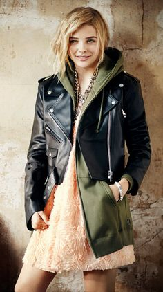 Girly/frilly dress, basic olive hoodie, tough leather jacket. Fun combo!