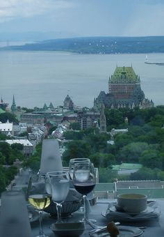 Chateau Frontenac, Quebec, Canada Beautiful and unusual view of the hotel. (I never tire of looking at that great Canadian river - all that history. )