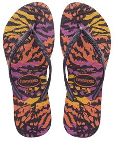 8d2e3469a344f5 ... Havaianas Slim Animals Flip Flops - Aubergine top design 41183 dab33   Rubber Slip On Beach Flip Flops Shoes for Men ...