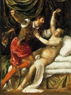 Tarquin and Lucretia - #Titian * -- ca. 1570 -- oil on canvas--  188 .9 x 145.1 cm-- located in the Fitzwilliam Museum -- #mannerism #laterenaissance #nude #greek #historypainting #painting