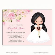 Girls First Communion Invitation, First Communion Invitation, Printable Communion Invitation, Pink First Holy Communion Invitation First communion girl invitation First communion invitation Holy Communion Invitations, Baptism Invitations, Invitation Wording, Invitation Design, First Communion Dresses, First Holy Communion, Party Printables, Holiday Cards, Party Time