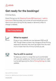 Smart Pricing is on for Relaxing Private Apartment – walk to downtown – here's what to expect - Really Good Emails Email Web, Html Email, Email Design Inspiration, Work Inspiration, Email Templates, Newsletter Templates, Travel Alerts, Best Email, Email Campaign