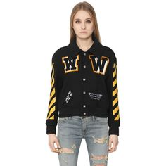 Off White Women Wool Felt Varsity Jacket With Patches ($1,225) ❤ liked on Polyvore featuring outerwear, jackets, college jacket, varsity bomber jacket, letterman jackets, wool jacket and collar jacket
