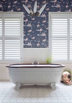 Flamingos by Cole & Son - Alabaster Pink and Ink Blue - Wallpaper : Wallpaper Direct Flamingo Wallpaper, Cole And Son Wallpaper, Of Wallpaper, Family Bathroom, Small Bathroom, Bathroom Goals, Bathroom Plants, Flamingo Bathroom, Mermaid Bathroom