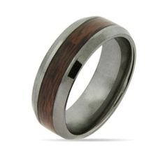 Wood Grain Inlay Engravable Tungsten Ring $49