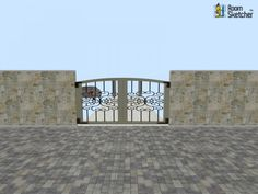 Garden Gate -- Too many textures, or just right?   Brick Pavers, stone, mail box & garden gate available for you: http://planner.roomsketcher.com/?ctxt=rs_com  3D floor plan for garden gate and pathway areas designed in RoomSketcher by LeijonatarFIJ