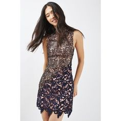 Topshop Asymmetric Lace Dress (£120) ❤ liked on Polyvore featuring dresses, navy lace dress, navy party dress, lace party dresses, mini dress and navy lace cocktail dress