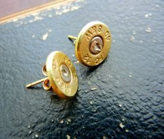 """Bullet Stud Earrings- """"A little bit of edge & a little bit of glam all wrapped into these little stud earrings. They are made from genuine Smith & Wesson bullet casings that were fired at gun ranges. No creatures were harmed with these bullets. Bullet Earrings, Bullet Jewelry, Stud Earrings, Shell Earrings, Diy Jewelry, Jewelry Box, Jewelery, Jewelry Accessories, Bullet Casing"""