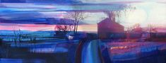 Towards Stoodly from Slack at Sunset ( Large Format Limited Edition Giclee Print ) 58 x 22 cm Mixed Media Painting, Mixed Media Canvas, Costa Rica, Abstract Landscape, Abstract Art, Large Format Printing, Morning Light, Fine Art Paper, Giclee Print
