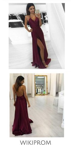 Sexy A-line Halter Burgundy V-Neck Backless Slit Sleeveless Long Evening Prom Dresses WK739, This dress could be custom made, there are no extra cost to do custom size and color Split Prom Dresses, Wedding Dresses, Make Your Own Dress, Formal Evening Dresses, New Dress, Backless, Burgundy, Tulle, V Neck
