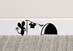 213B Mouse Hole Wall Art Sticker Washing Vinyl Decal Mice Home Skirting Board Funny: Amazon.co.uk: Kitchen & Home #Vinyldecalsideas