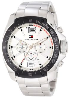 Tommy Hilfiger Men's 1790872 Sport Stainless Steel Bracelet Black Bezel Watch * Click image for more details.