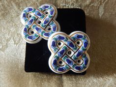 Vintage Ceramic Clip on Earrings by AlwaysPlanBVintage on Etsy