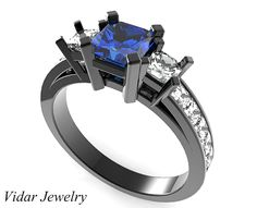 Black Gold Princess Cut Sapphire And Diamond Engagement Ring
