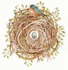blue bird spring painting nest egg watercolor art by atticEditions, $95.00