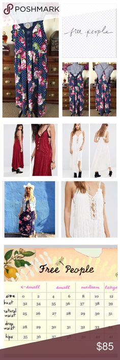 """Free People Legendary Embroidered Love Dress. NWT. Free People Legendary Embroidered Love Dress, 100% rayon, washable, 21"""" armpit to armpit (42"""" all around), 44"""" waist, 43"""" shortest point length, 48"""" longest point length, floral crochet inset, featuring front cutouts with crochet trim, strapped back, curved hem, plunge neckline, dropped armholes, racerback, loose fit, navy with bold floral print, measurements are approx.  No Trades... Free People Dresses"""