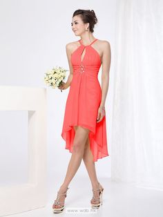 Chiffon halter A line high low dress  $106.98