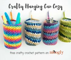 """""""Recycling is great - but reusing is even better! And the Crafty Hanging Can Cozy is a great way to take something that normally gets chucked in the kitchen recycling bin, and make something that's both attractive and useful. Crochet Jar Covers, Yarn Organization, Tin Can Crafts, All Free Crochet, Recycling Bins, Crochet Hooks, Crochet Rugs, Crochet Patterns, Bag Patterns"""
