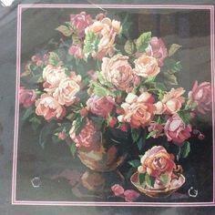 Classic Roses Bucilla Cross Stitch Kit Black Aida Nancy Rossi Pink Rose Vase New #Bucilla