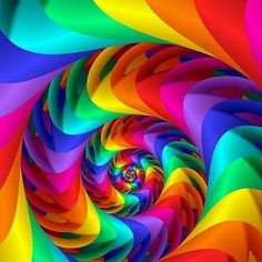 'Pointy Rainbow Fractal Spiral' by Kitty Bitty Beautiful Nature Wallpaper, Beautiful Artwork, Colorful Pictures, Art Pictures, Pretty Pictures, Fractal Art, Fractals, Cool Optical Illusions, Rainbow Wallpaper