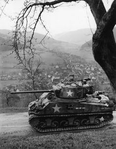 12th Armored Division M4A3 Sherman in Schneeburg Germany 1945