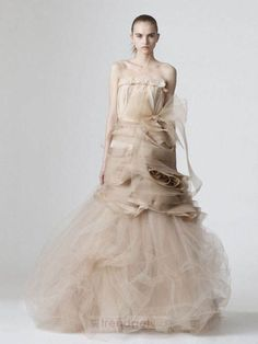 Attractive A-line Strapless Floor-length Organza Colored Wedding Dresses