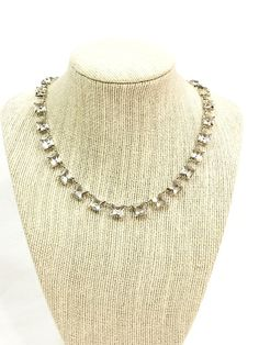 Art Deco Crystal Necklace Sterling Silver Princess Cut