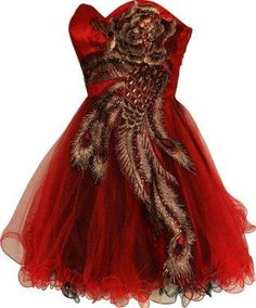 Red peacock party / prom dress