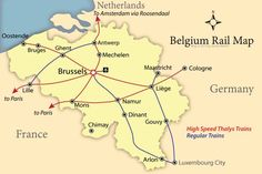 Map of Belgium with regular and Thalys high speed rail lines and information for the tourist planning a visit to the Benelux country of Belgium.