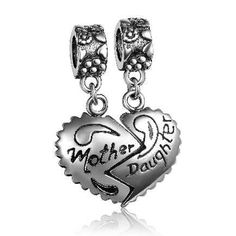 Mother Daughter Dangle Charm 925 Sterling Silver