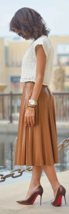 Embroidered White Sweater + Caramel Leather Full Skirt